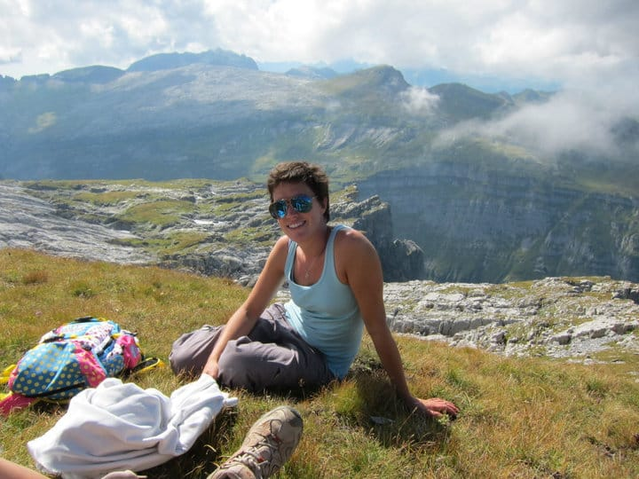Hiking in Morzine- having a break in the sun