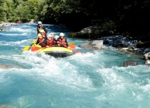 White water rafting on a learn French activity holiday