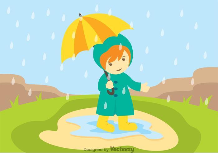Little Girl In Spring Showers Vector