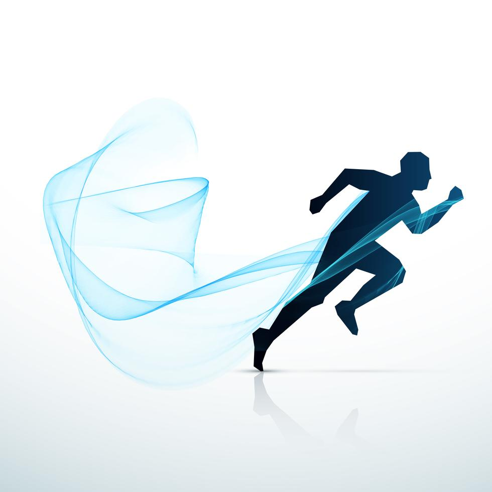 Man Running With Blue Flowing Wave Vector