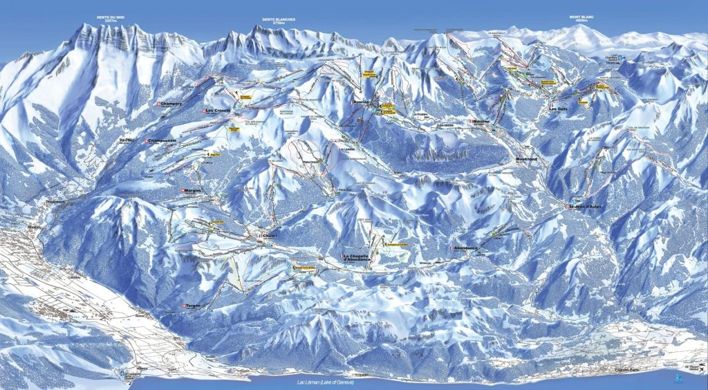 Portes du Soleil piste map- Learn French and snowboard