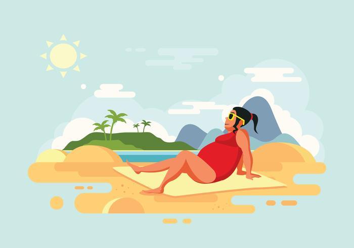 sunbathing-woman-on-beach-vector-illustration