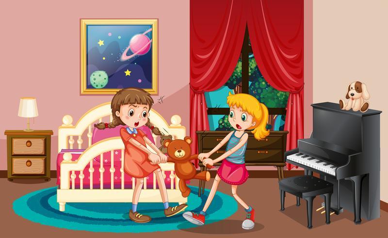 Two Girls Fighting In Bedroom Vector