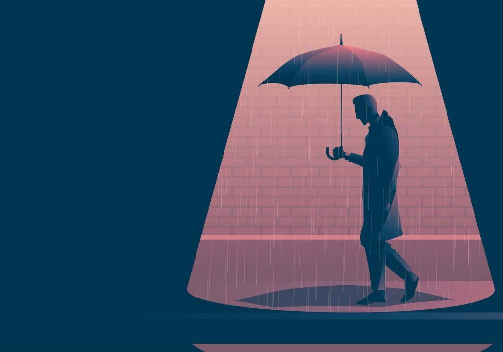 Vector Boy Wearing Raincoat Walking With Umbrella