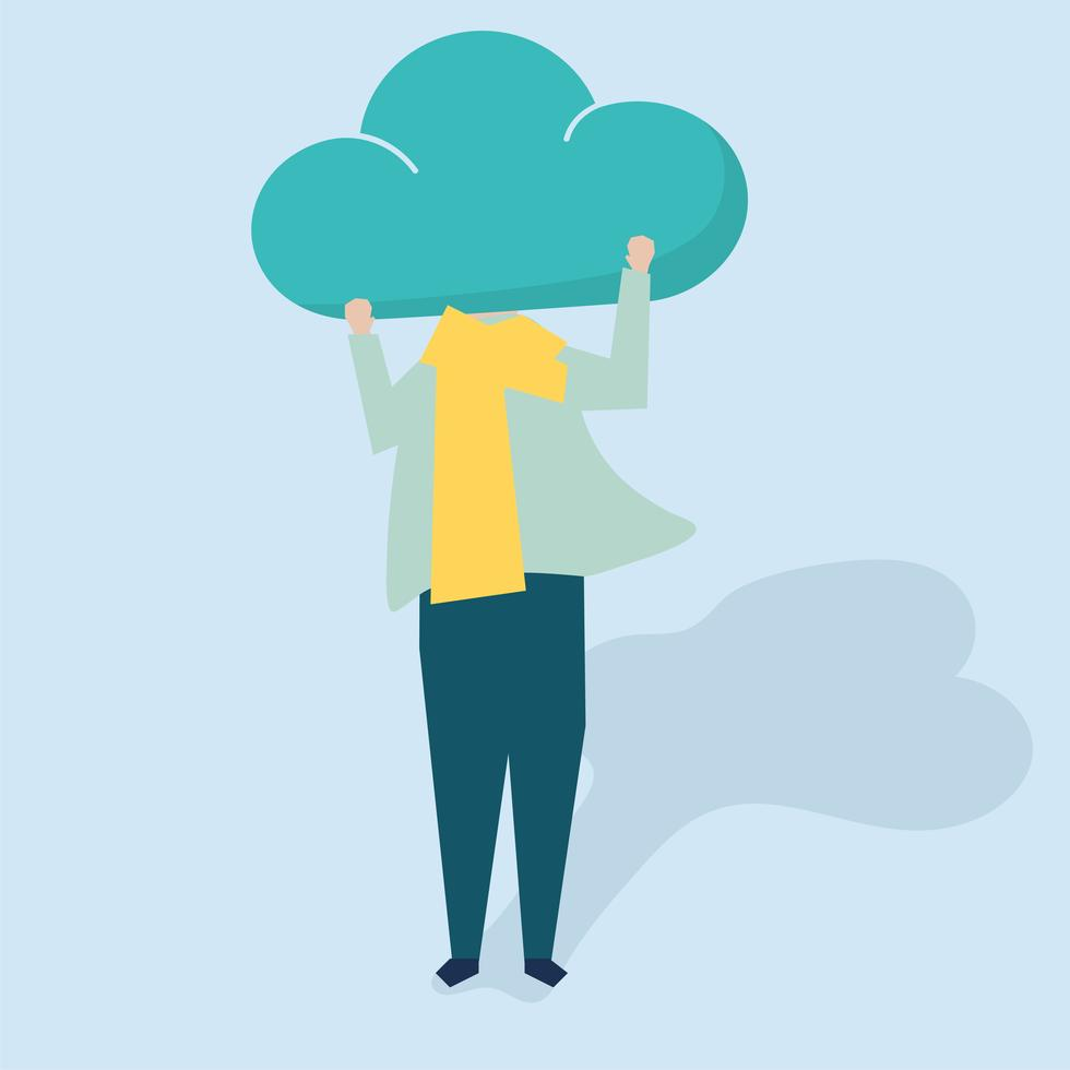 Vector Character Of A Person With A Cloud As A Head Illustration