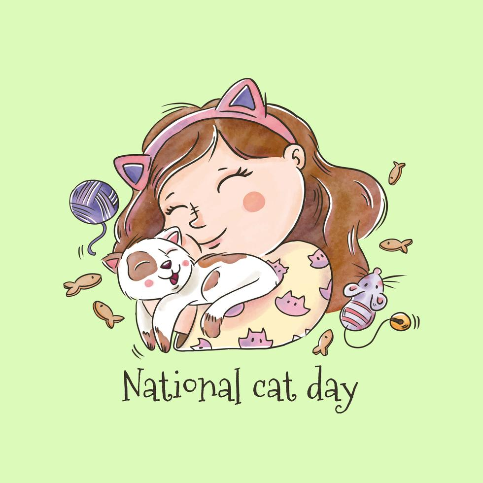 Vector Cute Girl Smiling Hugging A Cat For National Cat Day