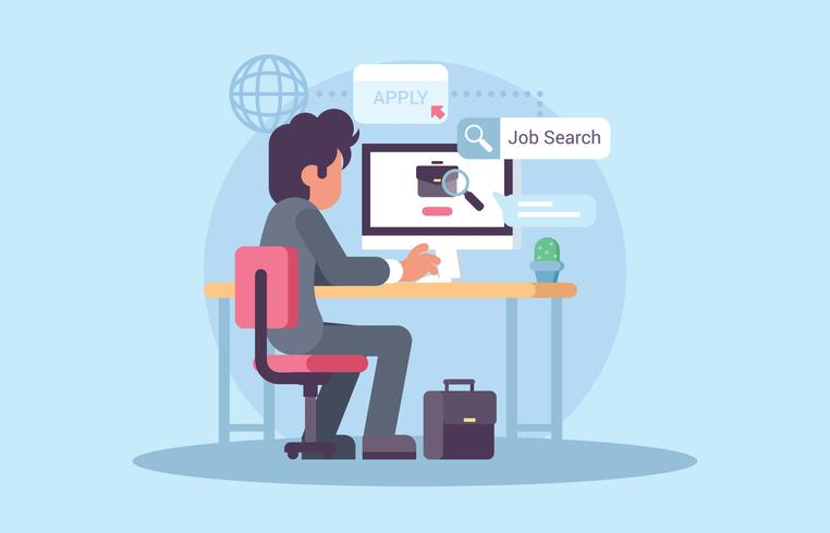Young Man Searching For Jobs Vector